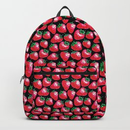 Red Strawberry pattern on black Illustration Backpack