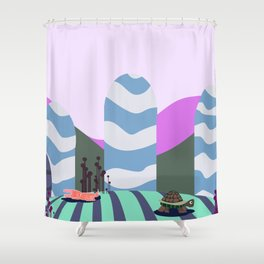 hare and tortoise fable Shower Curtain