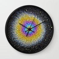 big bang Wall Clocks featuring Big Bang by PMLynch