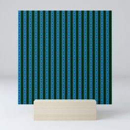 blue magic stripes pattern on the deep background Mini Art Print