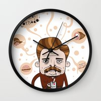 ron swanson Wall Clocks featuring Ron Swanson by Cody Bond