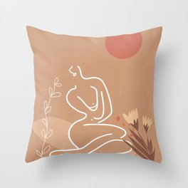 Woman in Nature Illustration Throw Pillow