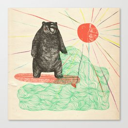 Bustin' Surfboards Bear Canvas Print