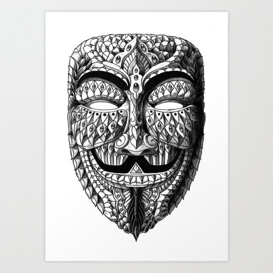 Ornate Anonymous Mask Art Print