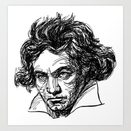 Ludwig Van Beethoven line drawing Art Print