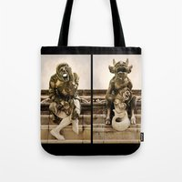 medieval Tote Bags featuring Medieval Nightmare by Irina Chuckowree