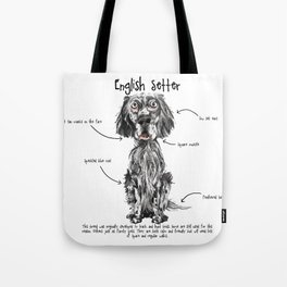 E is for English Setter Tote Bag