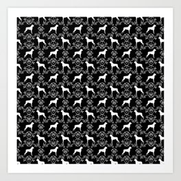 Boxer florals silhouette black and white floral pattern dog portrait dog breeds boxers Art Print