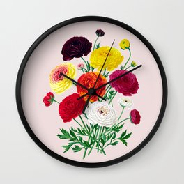 Bright Retro Flowers Wall Clock