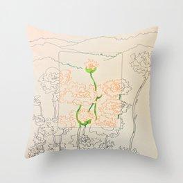 Orange Flowers Throw Pillow