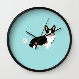 Corgi funny fart dog pure breed gifts dog lovers tricolored corgis Wall Clock