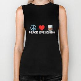 Peace Love Bourbon - Funny Alcohol Lover Whiskey Biker Tank