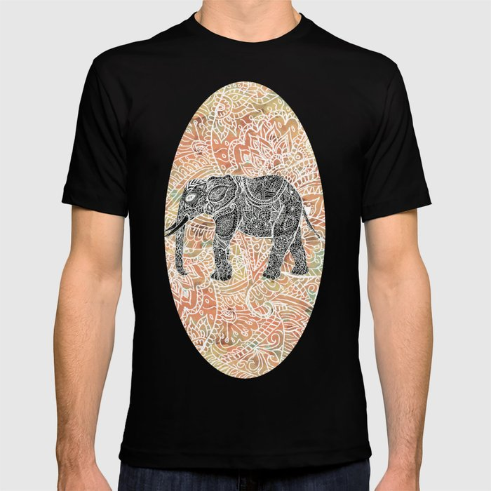 99f6ed22 Tribal Paisley Elephant Colorful Henna Floral Pattern T-shirt by ...