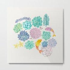 A Serene Succulent Underwater World Metal Print