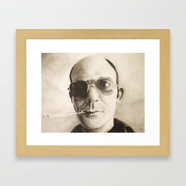 Hunter S. Thompson Portrait in Charcoal Framed Art Print