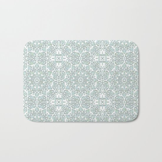 Turquoise teal ornamental pattern Bath Mat