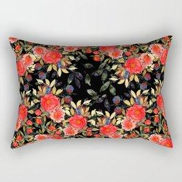 Dark Rose Garden Floral Rectangular Pillow
