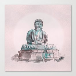 Peace and Harmony watercolor buddha pastel illustration Canvas Print