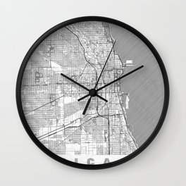 Chicago Map Line Wall Clock