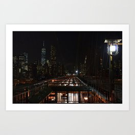 New York City Nightscape from Brooklyn Bridge. Art Print