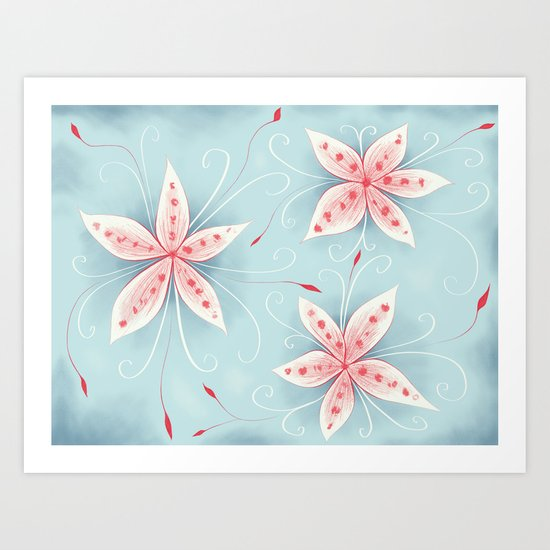 Beautiful Abstract Flowers In Red And White Art Print