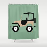 jeep Shower Curtains featuring Just a Jeep by Marcelo Badari