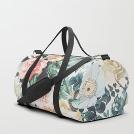 Vintage green pink yellow watercolor roses floral Duffle Bag