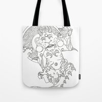 devil Tote Bags featuring Devil by MissingPieceTattoo