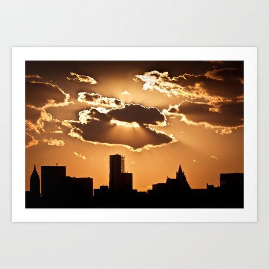 Sunset over NYC Art Print