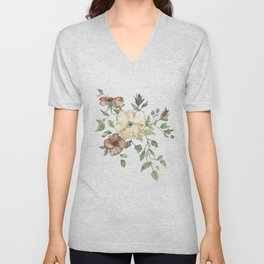 The Eliza // Warm Florals and Berries Watercolor Unisex V-Neck