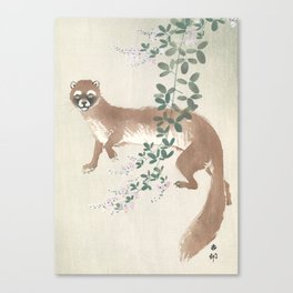 Weasel and the flowers - Vintage Japanese Woodblock Print Art Canvas Print