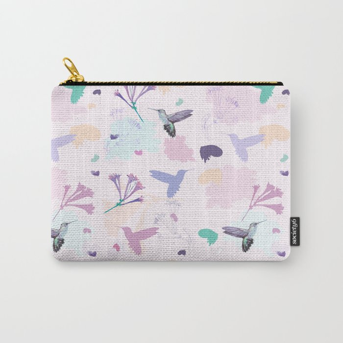 Hummingbird and flower pastel petal pattern Carry-All Pouch