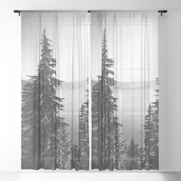 Mountain Lake Forest Black and White Nature Photography Sheer Curtain