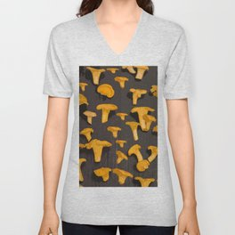 Chantterelles On A Dark Grey Background - Autumn Harvest - #Society6 #buyart Unisex V-Neck