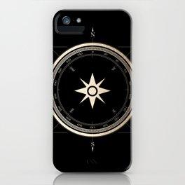 Black on Gold Metallic Compass iPhone Case