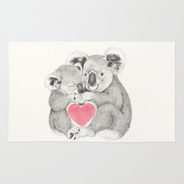 Koalas love hugs Rug