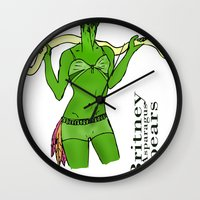 britney spears Wall Clocks featuring Britney Spears by Pattavina