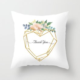 Graphic Heart and Flowers Throw Pillow