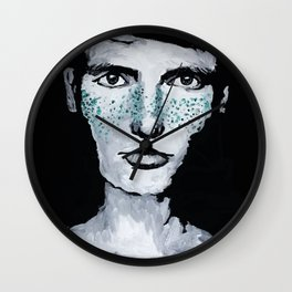 Male portrait with freckles Wall Clock