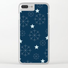 Snowflakes and stars - blue Clear iPhone Case