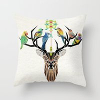 yetiland Throw Pillows featuring deer birds by Manoou