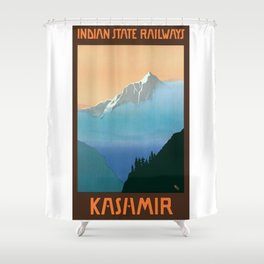 1930 Kashmir Indian State Railways Travel Poster Shower Curtain