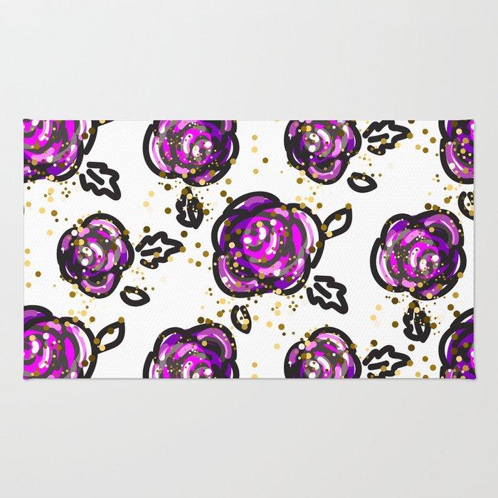 Hand drawn purple roses Rug