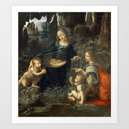 "Leonardo da Vinci ""The Virgin of the Rocks"" (Louvre) Art Print"