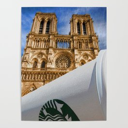Discarded Coffee Cup Trash Oh Yeah - And Notre Dame Poster