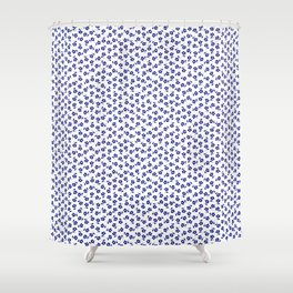 Forget Me Nots - Blue on White Shower Curtain