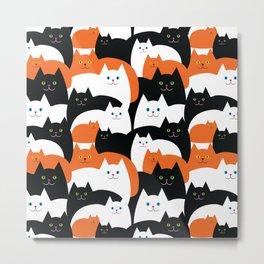 Cat Family on Halloween Metal Print
