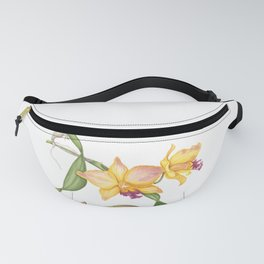 Flowering yellow cattleya orchid plant Fanny Pack