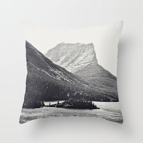 Glacier Mountain Lake Black and White Throw Pillow