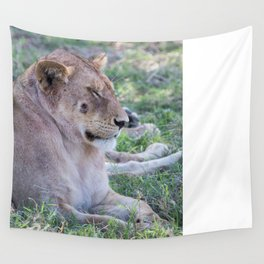 Lioness with a wound, serengeti national park, tanzania Wall Tapestry